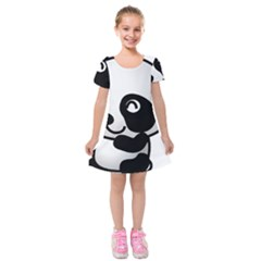 Adorable Panda Kids  Short Sleeve Velvet Dress