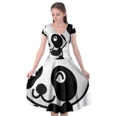 Adorable Panda Cap Sleeve Wrap Front Dress