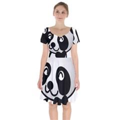 Adorable Panda Short Sleeve Bardot Dress