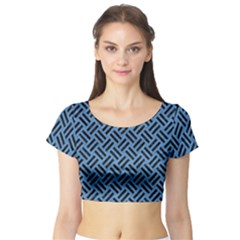 Woven2 Black Marble & Blue Colored Pencil (r) Short Sleeve Crop Top (tight Fit)