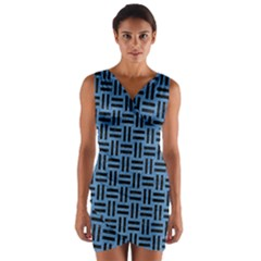 Woven1 Black Marble & Blue Colored Pencil (r) Wrap Front Bodycon Dress