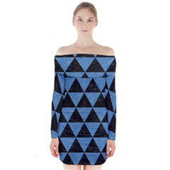 Triangle3 Black Marble & Blue Colored Pencil Long Sleeve Off Shoulder Dress