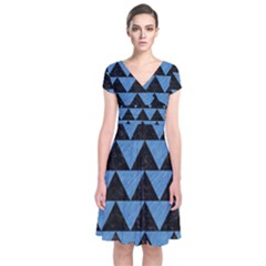 Triangle2 Black Marble & Blue Colored Pencil Short Sleeve Front Wrap Dress