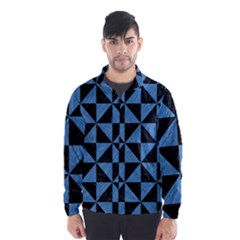 Triangle1 Black Marble & Blue Colored Pencil Wind Breaker (men)