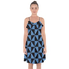Triangle1 Black Marble & Blue Colored Pencil Ruffle Detail Chiffon Dress