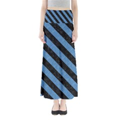 Stripes3 Black Marble & Blue Colored Pencil (r) Full Length Maxi Skirt