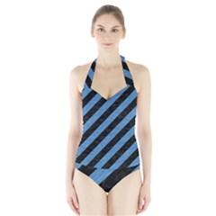 STR3 BK-MRBL BL-PNCL Halter Swimsuit