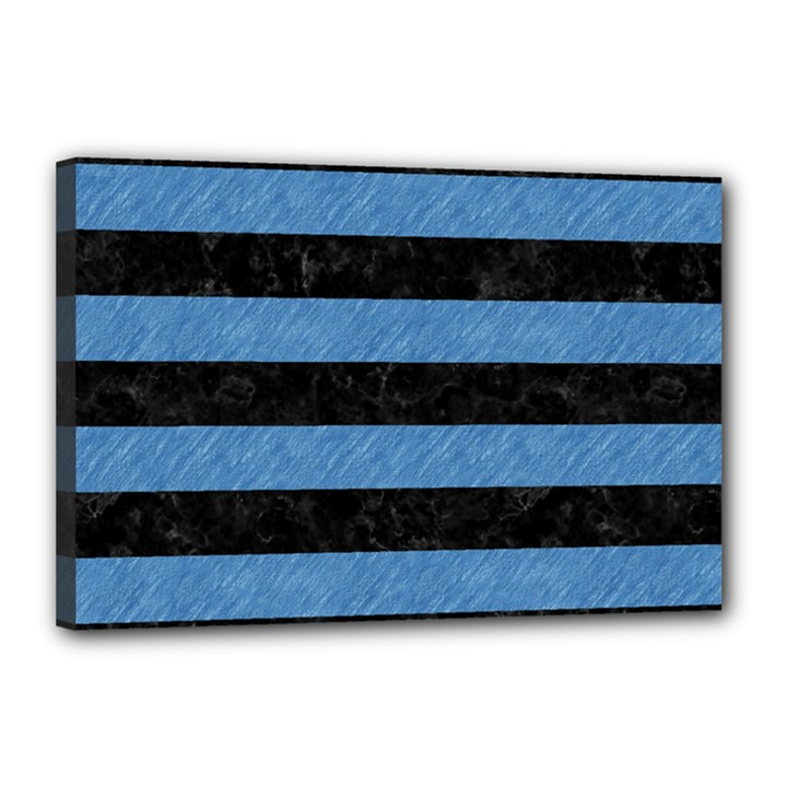 STRIPES2 BLACK MARBLE & BLUE COLORED PENCIL Canvas 18  x 12  (Stretched)