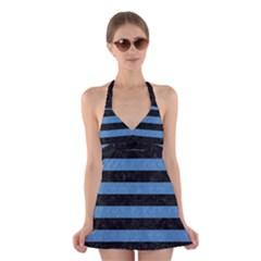 STR2 BK-MRBL BL-PNCL Halter Swimsuit Dress
