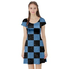 SQR1 BK-MRBL BL-PNCL Short Sleeve Skater Dress