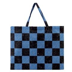 SQR1 BK-MRBL BL-PNCL Zipper Large Tote Bag