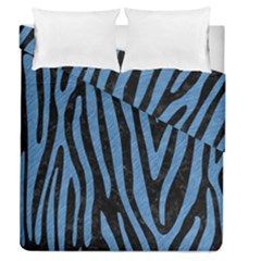 Skin4 Black Marble & Blue Colored Pencil (r) Duvet Cover Double Side (queen Size)