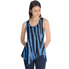 Skin4 Black Marble & Blue Colored Pencil Sleeveless Tunic