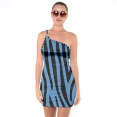 Skin4 Black Marble & Blue Colored Pencil One Shoulder Ring Trim Bodycon Dress