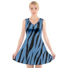 SKN3 BK-MRBL BL-PNCL (R) V-Neck Sleeveless Skater Dress