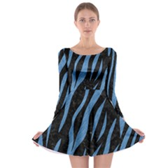 SKN3 BK-MRBL BL-PNCL Long Sleeve Skater Dress