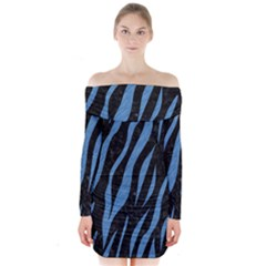 SKN3 BK-MRBL BL-PNCL Long Sleeve Off Shoulder Dress