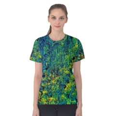 Flowers Abstract Yellow Green Women s Cotton Tee
