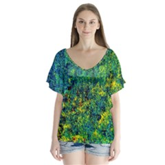 Flowers Abstract Yellow Green Flutter Sleeve Top