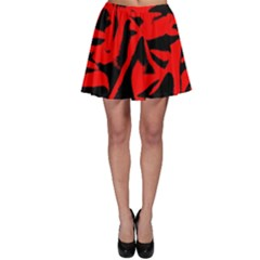 Red Black Retro Pattern Skater Skirt