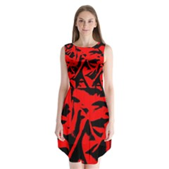 Red Black Retro Pattern Sleeveless Chiffon Dress