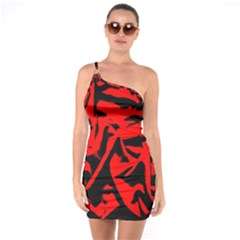 Red Black Retro Pattern One Soulder Bodycon Dress