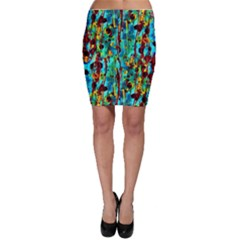 Turquoise Blue Green  Painting Pattern Bodycon Skirt