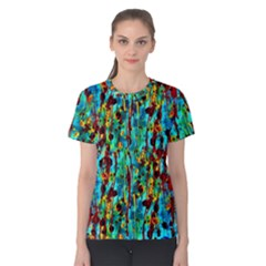Turquoise Blue Green  Painting Pattern Women s Cotton Tee