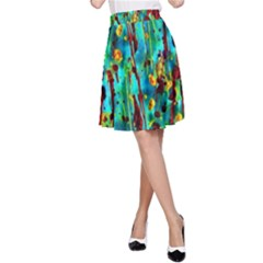 Turquoise Blue Green  Painting Pattern A-Line Skirt