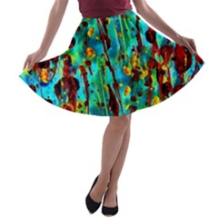 Turquoise Blue Green  Painting Pattern A-line Skater Skirt