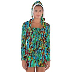 Turquoise Blue Green  Painting Pattern Women s Long Sleeve Hooded T-shirt