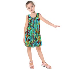 Turquoise Blue Green  Painting Pattern Kids  Sleeveless Dress