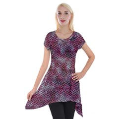 Pink texture                 Short Sleeve Side Drop Tunic