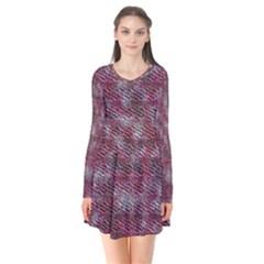 Pink texture                Long Sleeve V-neck Flare Dress