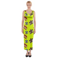 Camera pattern                Fitted Maxi Dress