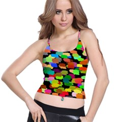 Colorful paint on a black background                 Women s Spaghetti Strap Bra Top