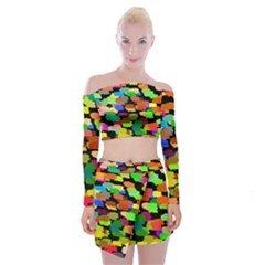 Colorful paint on a black background                    Off Shoulder Top with Skirt Set