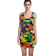 Colorful paint on a black background                 Bodycon Dress