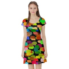 Colorful paint on a black background                 Short Sleeve Skater Dress