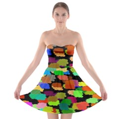 Colorful paint on a black background                 Strapless Bra Top Dress