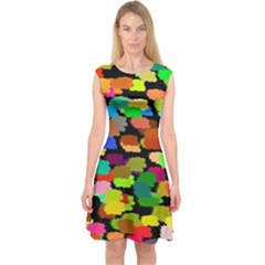 Colorful paint on a black background                 Capsleeve Midi Dress