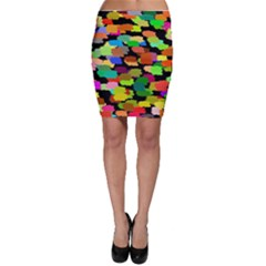 Colorful paint on a black background                 Bodycon Skirt