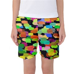 Colorful paint on a black background           Women s Basketball Shorts