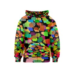Colorful paint on a black background                 Kids Zipper Hoodie