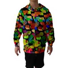 Colorful paint on a black background                 Hooded Wind Breaker (Kids)
