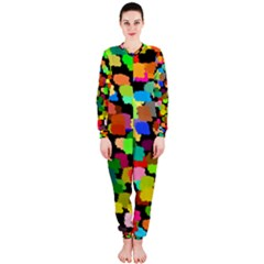 Colorful paint on a black background                 OnePiece Jumpsuit (Ladies)