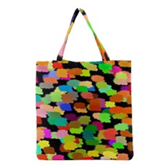 Colorful paint on a black background                 Grocery Tote Bag