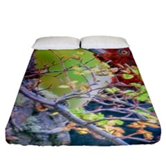 Woodpecker At Forest Pecking Tree, Patagonia, Argentina Fitted Sheet (Queen Size)
