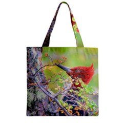 Woodpecker At Forest Pecking Tree, Patagonia, Argentina Zipper Grocery Tote Bag