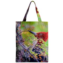 Woodpecker At Forest Pecking Tree, Patagonia, Argentina Zipper Classic Tote Bag